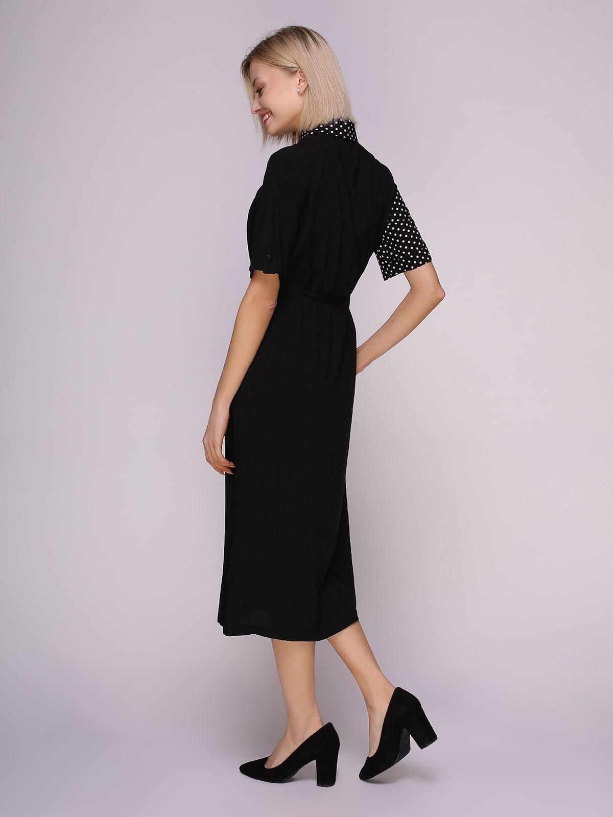 Платье-рубашка черное в горох | 4951628 | фото 3