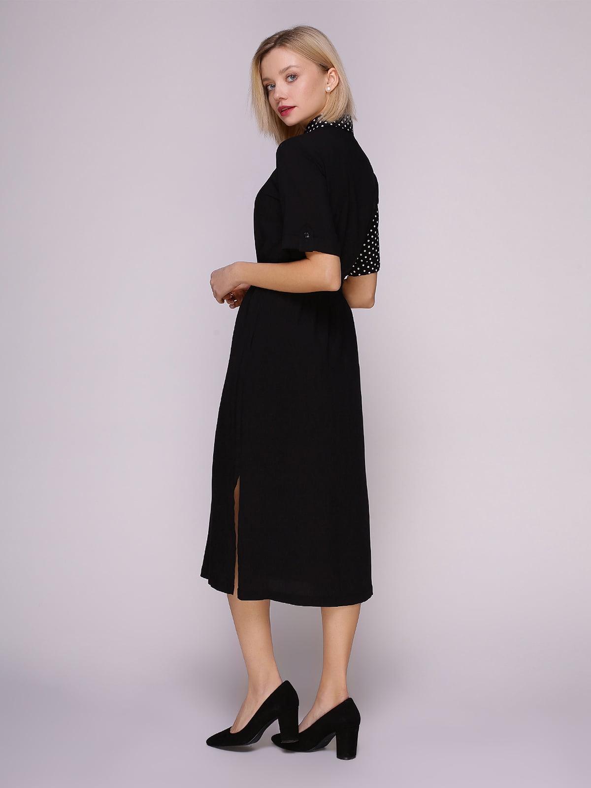 Платье-рубашка черное в горох | 4951628 | фото 4