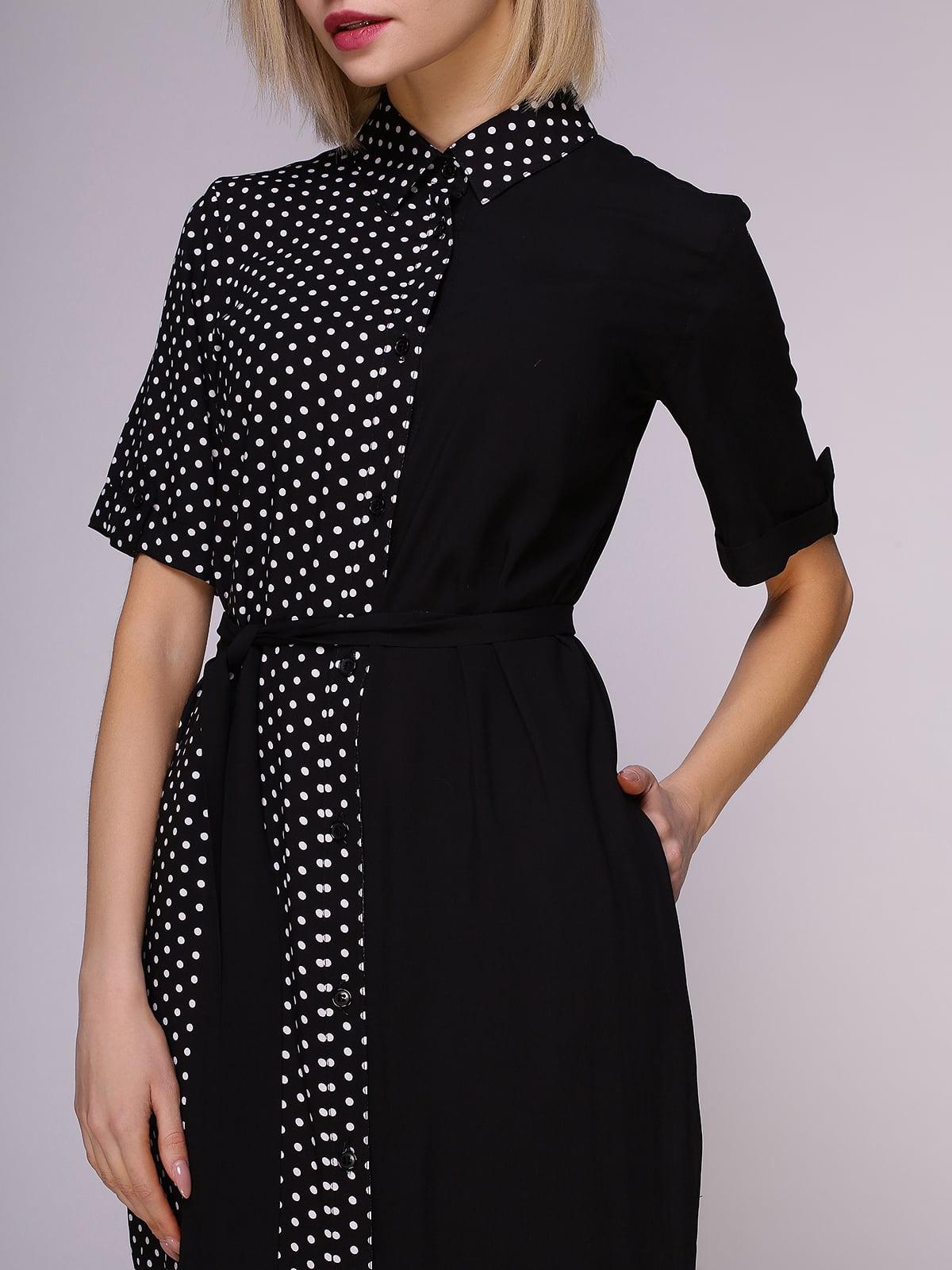 Платье-рубашка черное в горох | 4951628 | фото 5