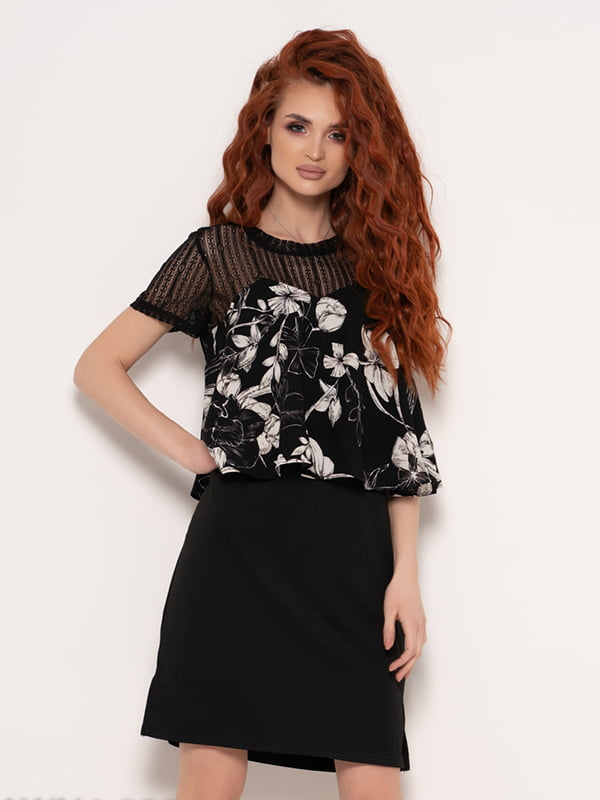 Сукня чорна з квітковим принтом | 4950864