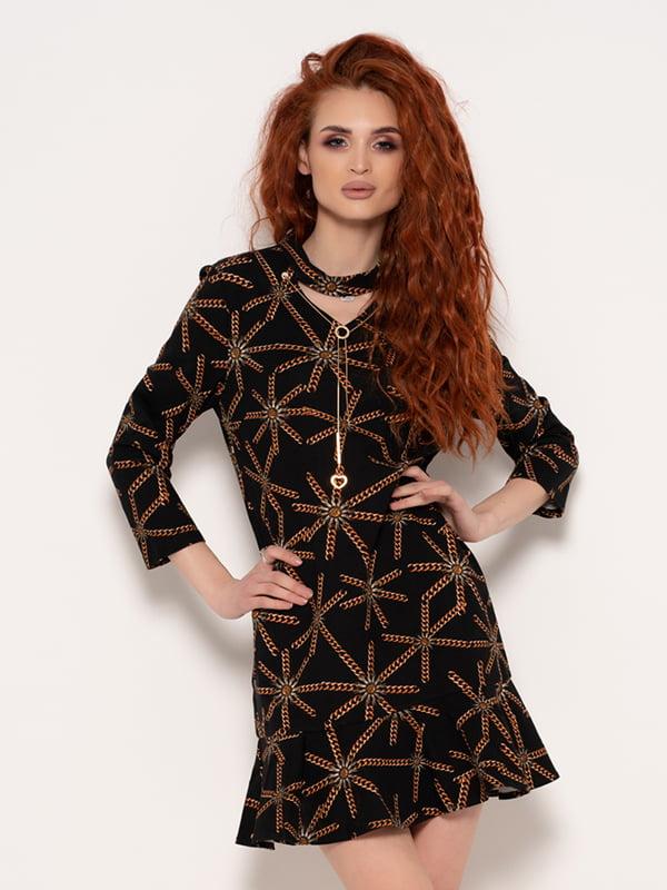 Платье черное в принт | 4950945