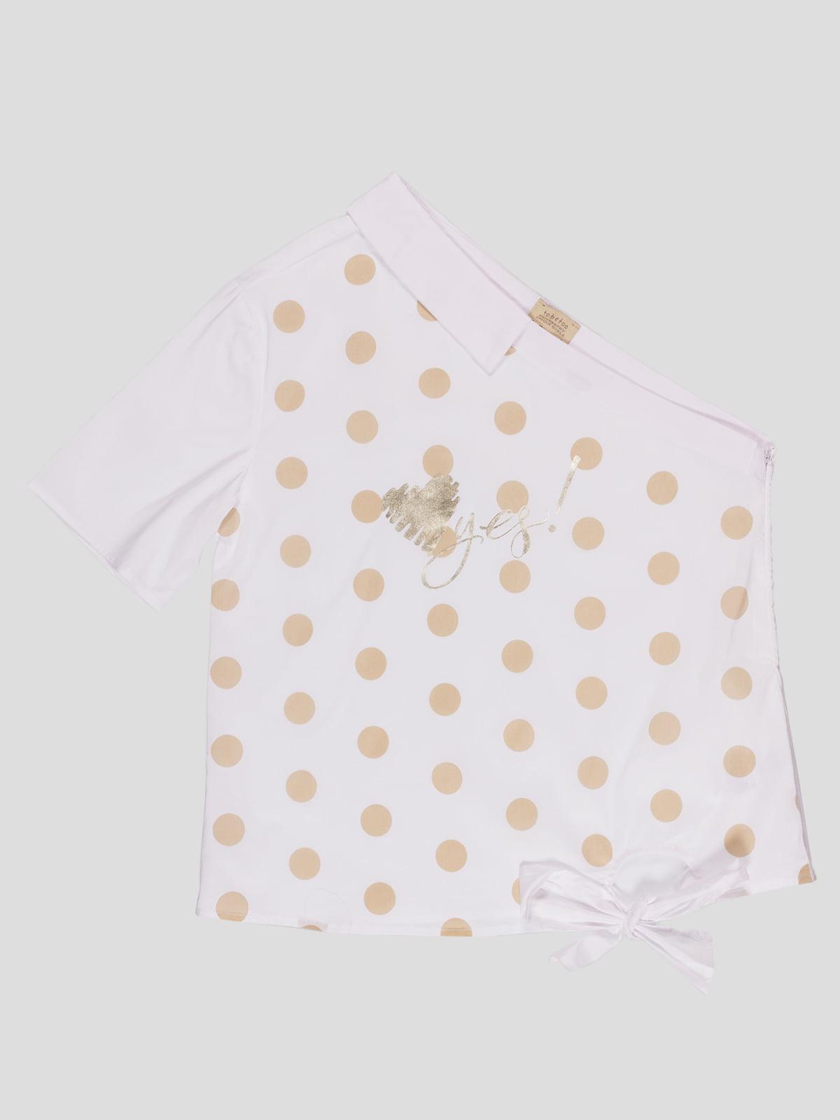 Блуза біла в горошок | 4781142