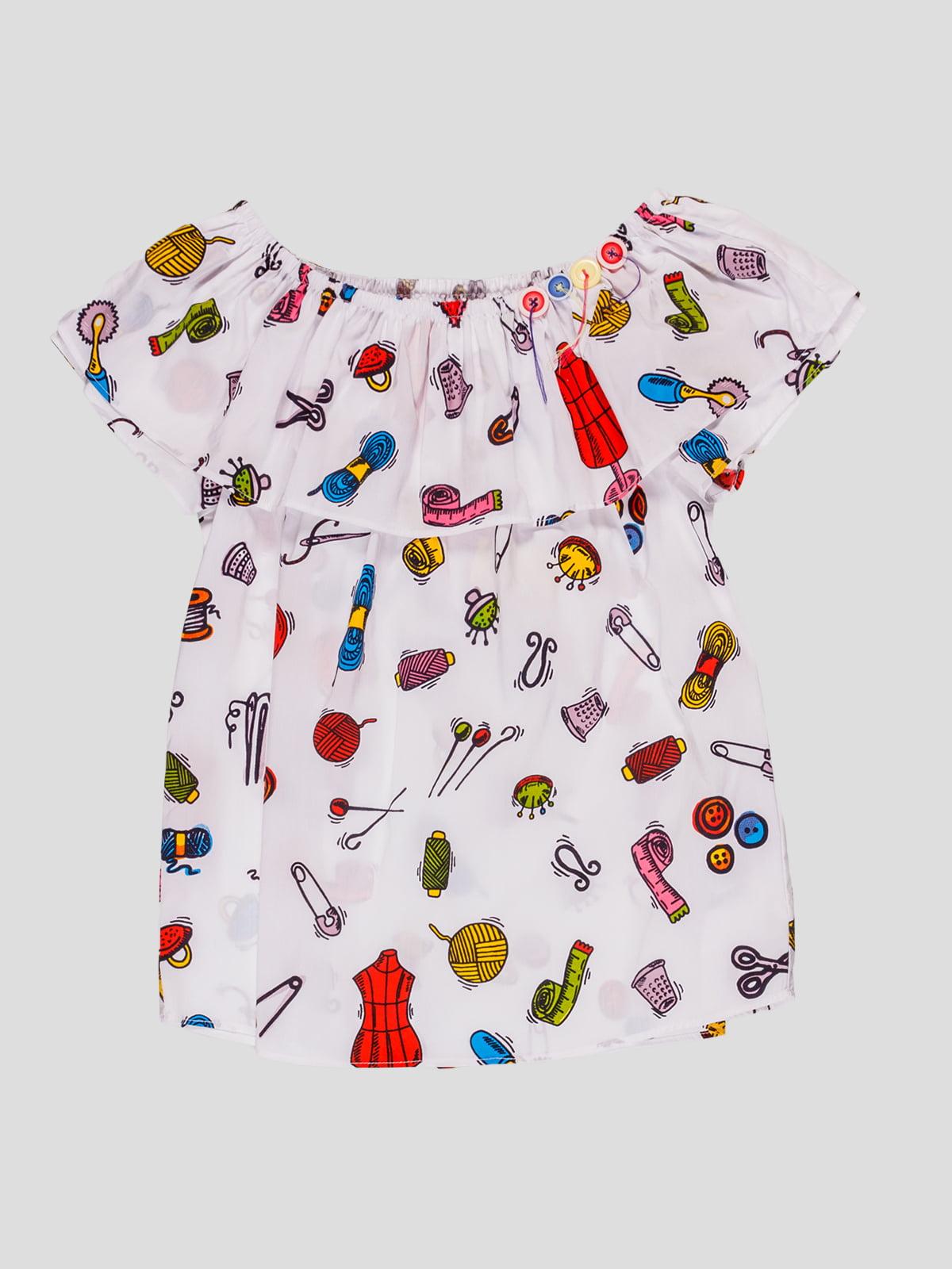 Блуза біла в принт | 4781505