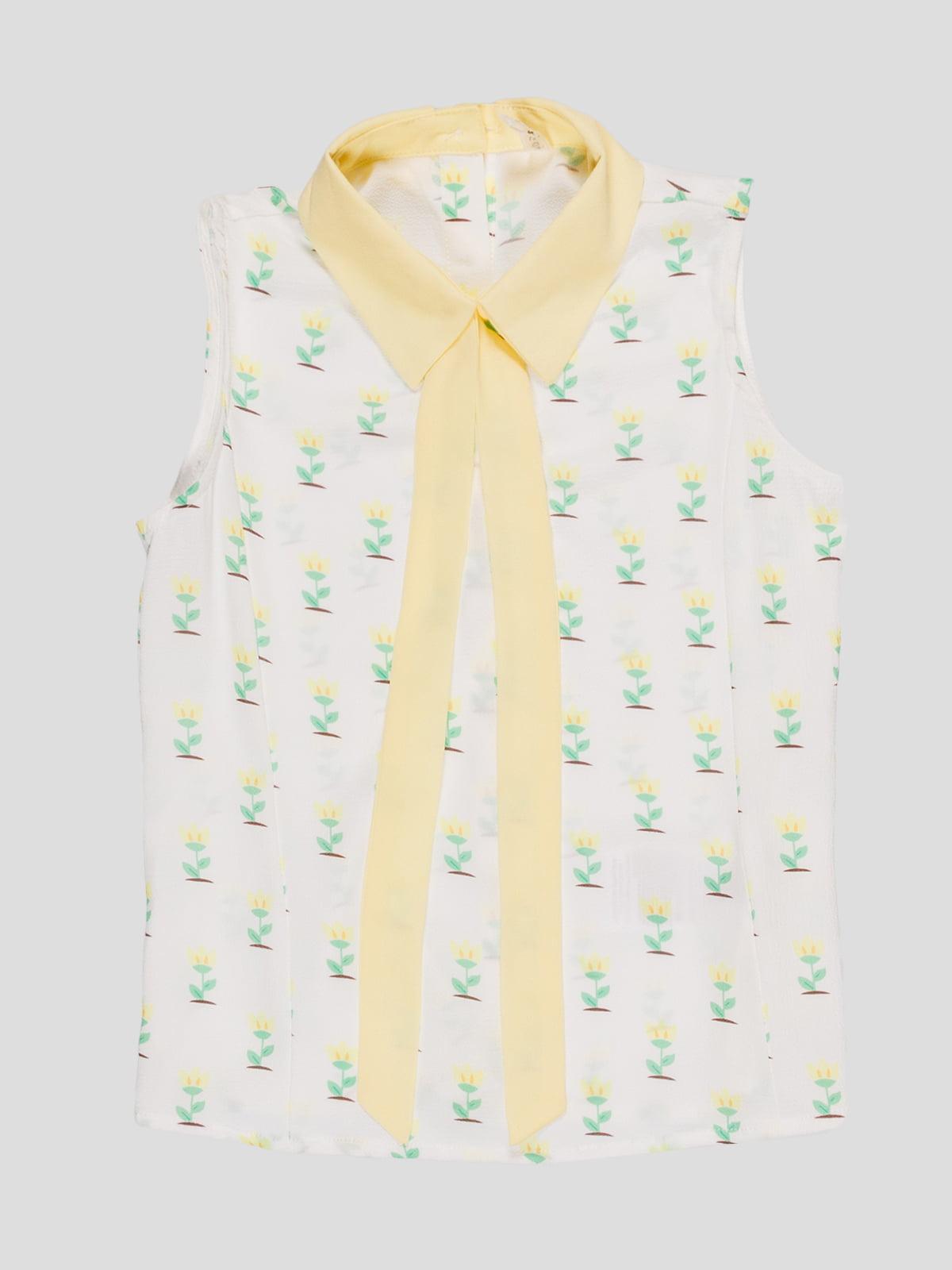 Блуза біла в принт | 4781334