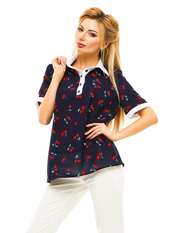 Блуза темно-синя в принт | 4655553