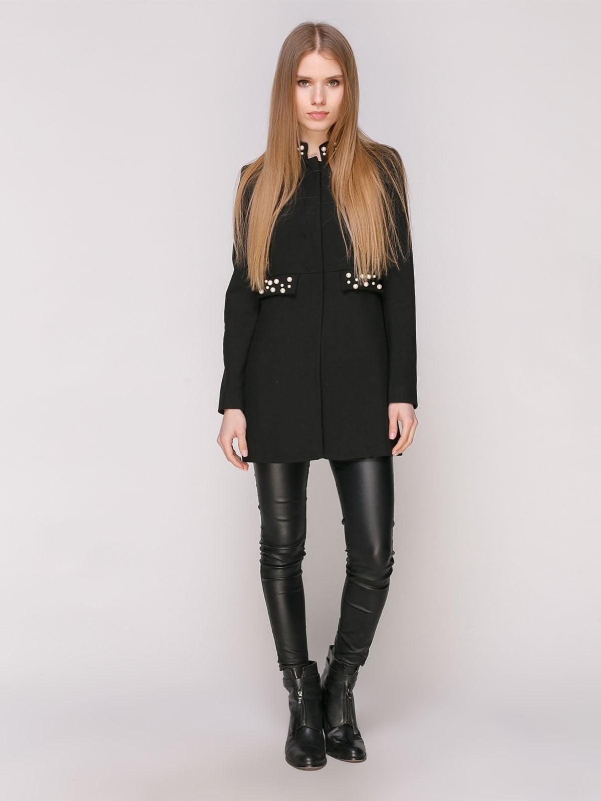 Пальто черное с декором   4877677   фото 2