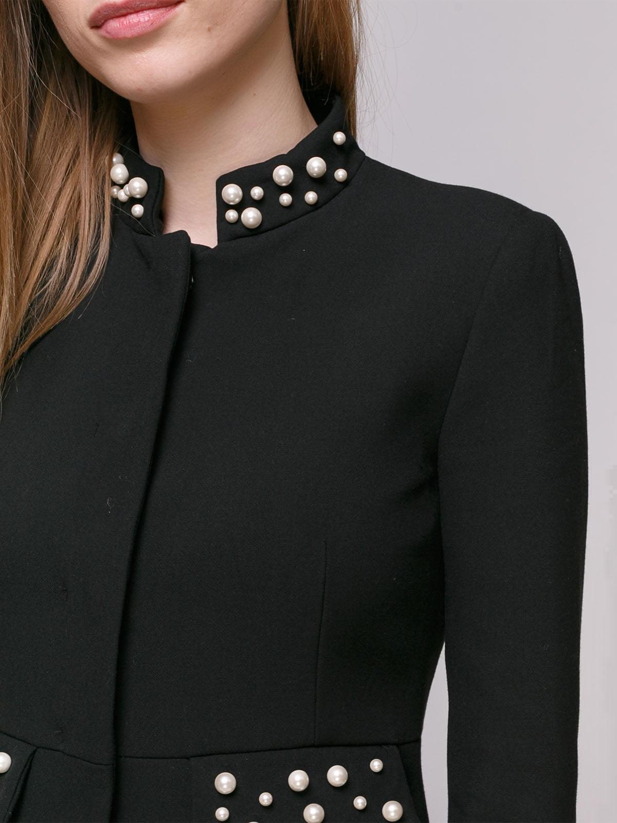 Пальто черное с декором   4877677   фото 4