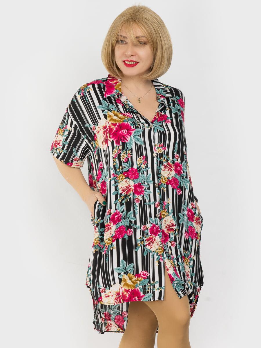 Рубашка-туника комбинированной расцветки | 4962326