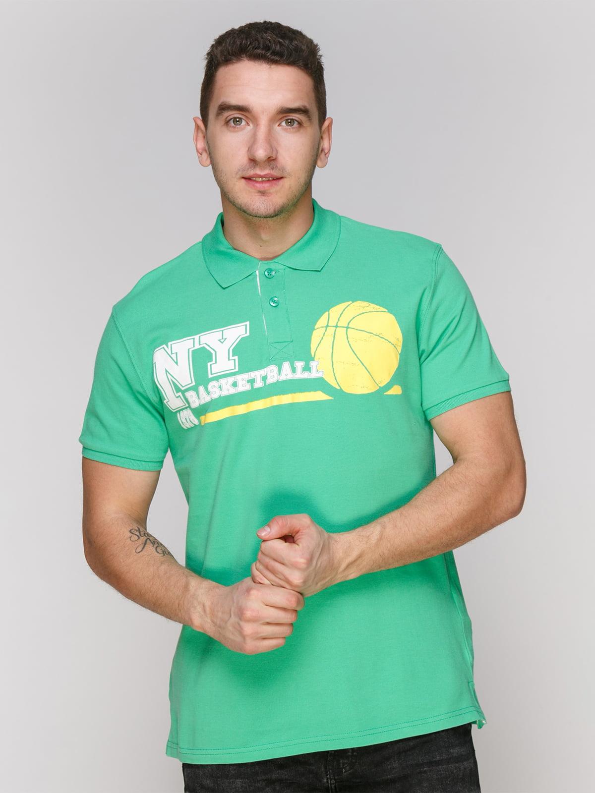Футболка-поло светло-зеленая с принтом | 4854945