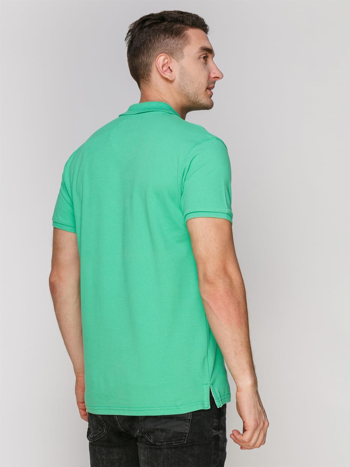 Футболка-поло светло-зеленая с принтом | 4854945 | фото 2