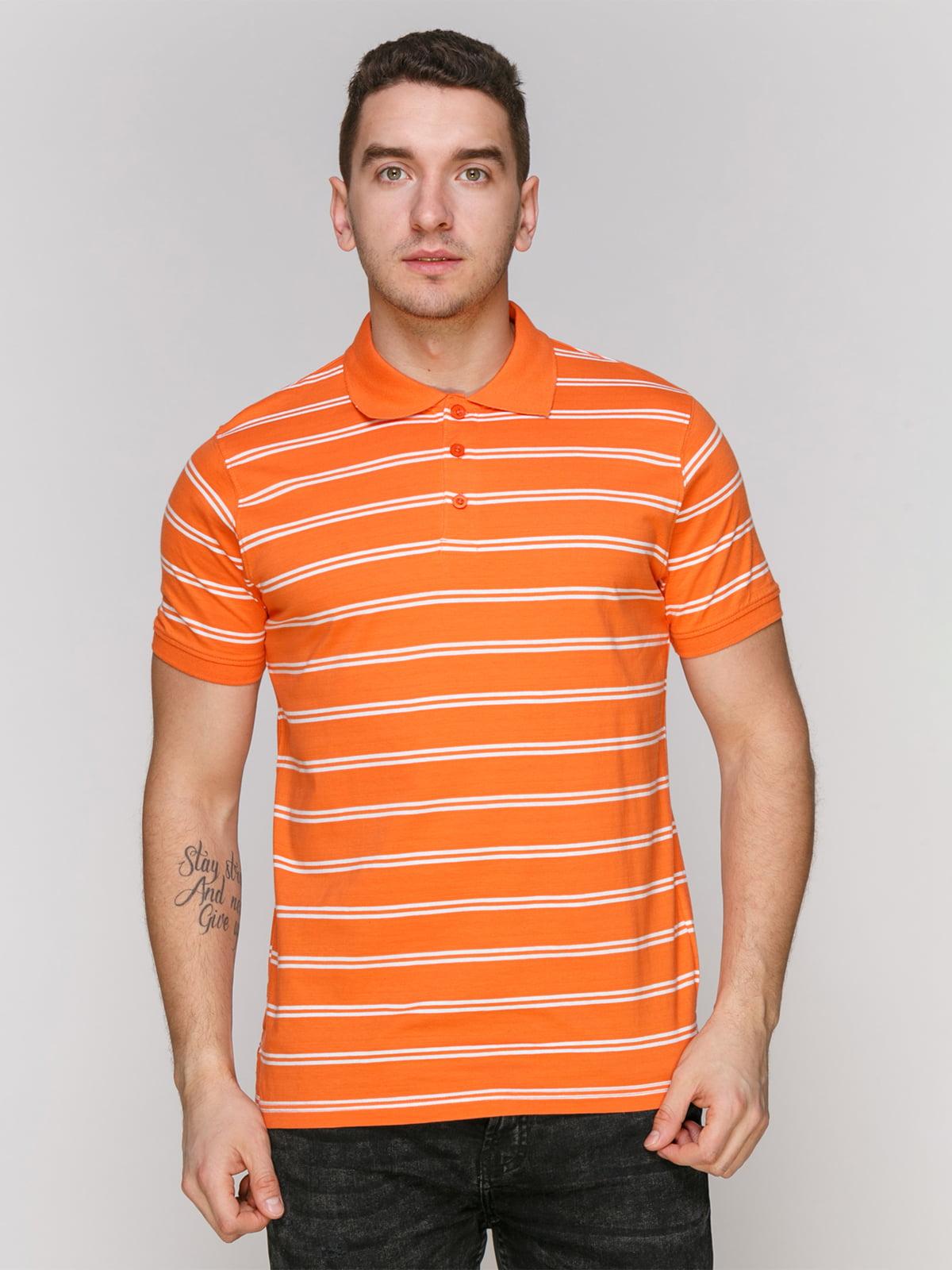 Футболка-поло помаранчева в смужку | 4854918