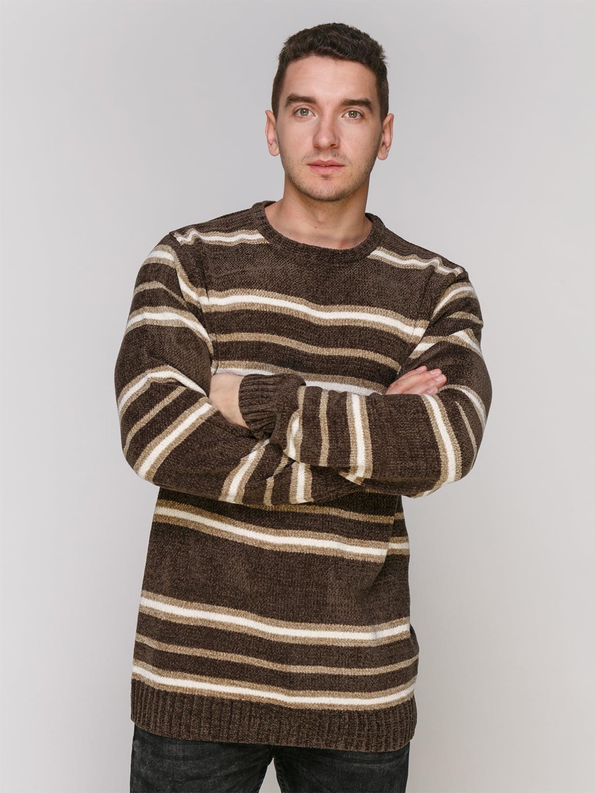 Джемпер серо-коричневого цвета в полоску | 4855005