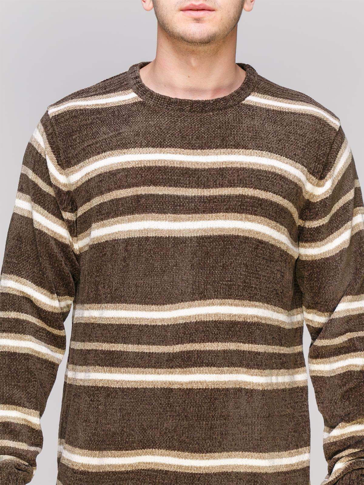 Джемпер серо-коричневого цвета в полоску | 4855005 | фото 3