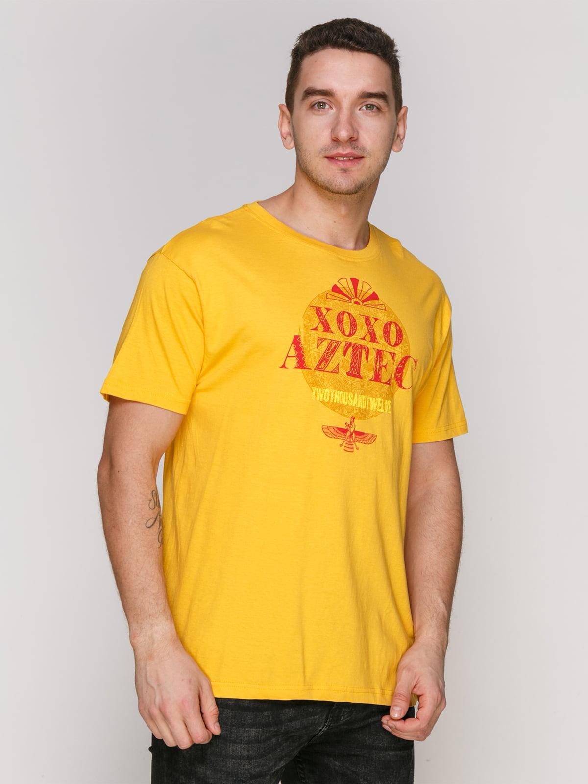 Футболка желтая с принтом | 4855401