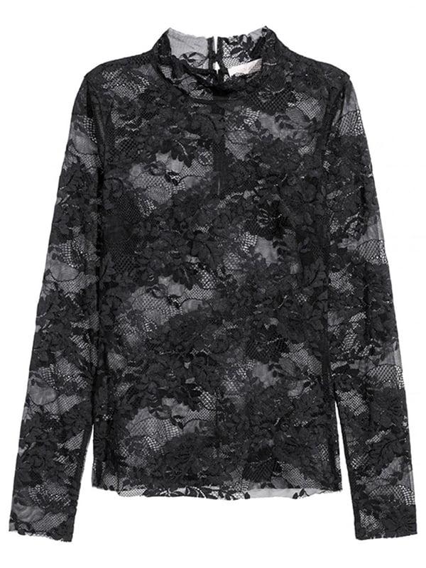 Блуза черная кружевная   4960431