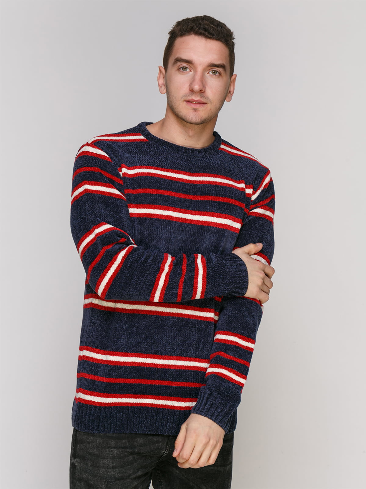 Джемпер темно-синий в красную полоску | 4855004
