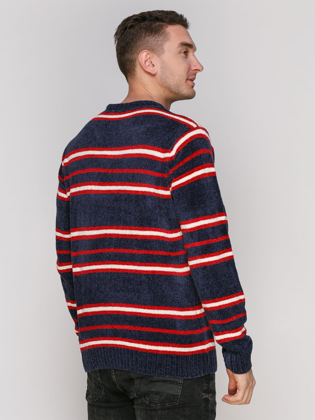 Джемпер темно-синий в красную полоску | 4855004 | фото 2