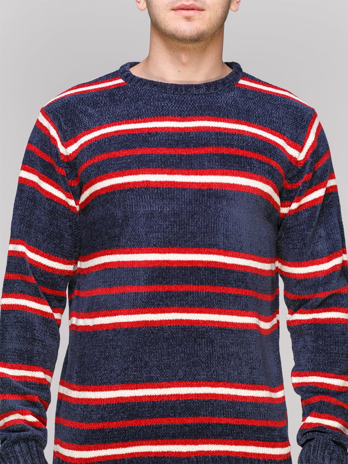 Джемпер темно-синий в красную полоску | 4855004 | фото 3