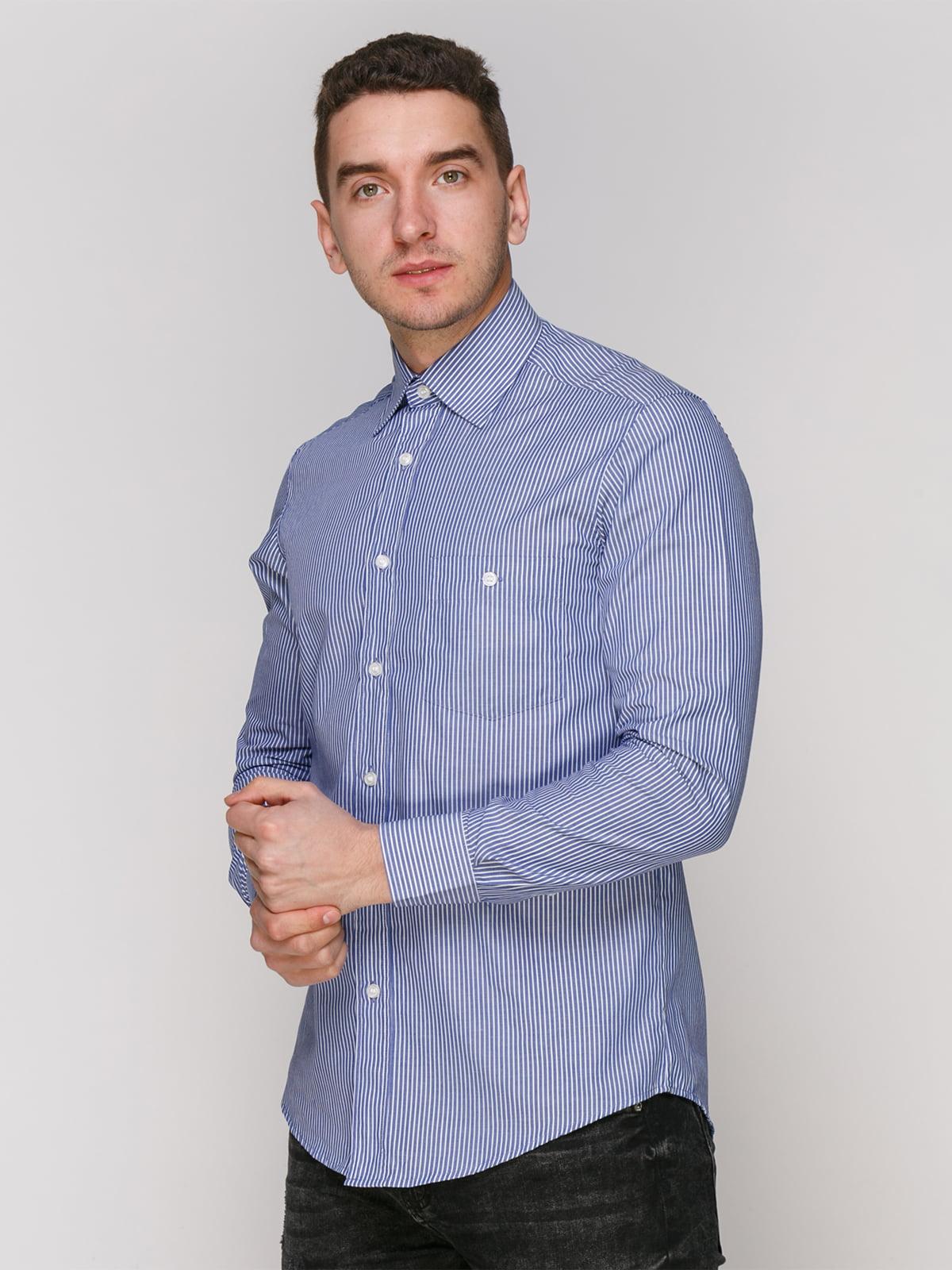 Сорочка синя в смужку | 4855387