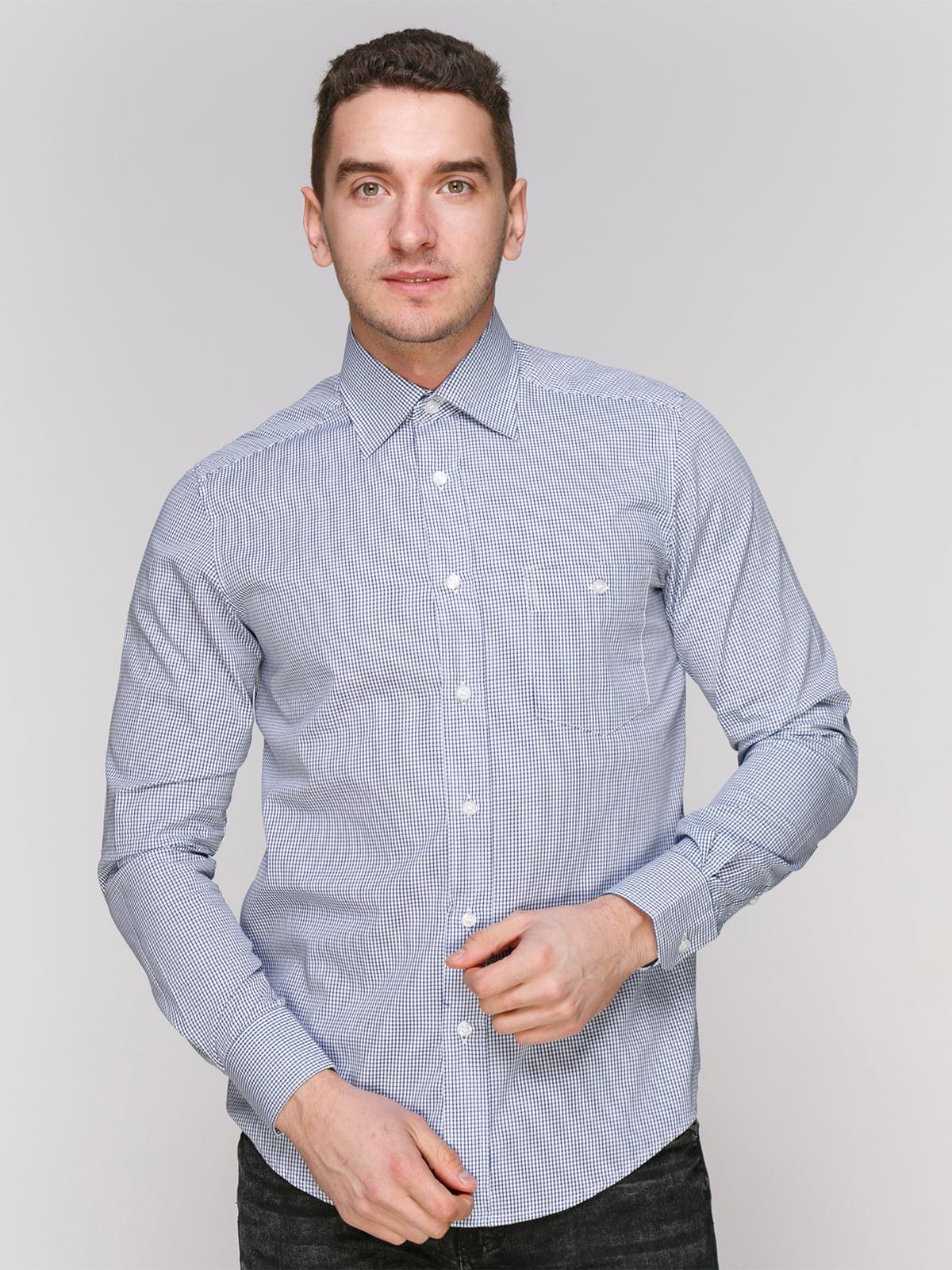 Рубашка синяя в клетку | 4855384