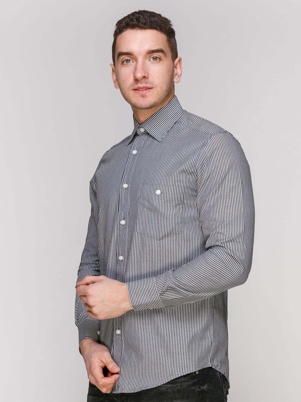 Рубашка черная в полоску | 4855386