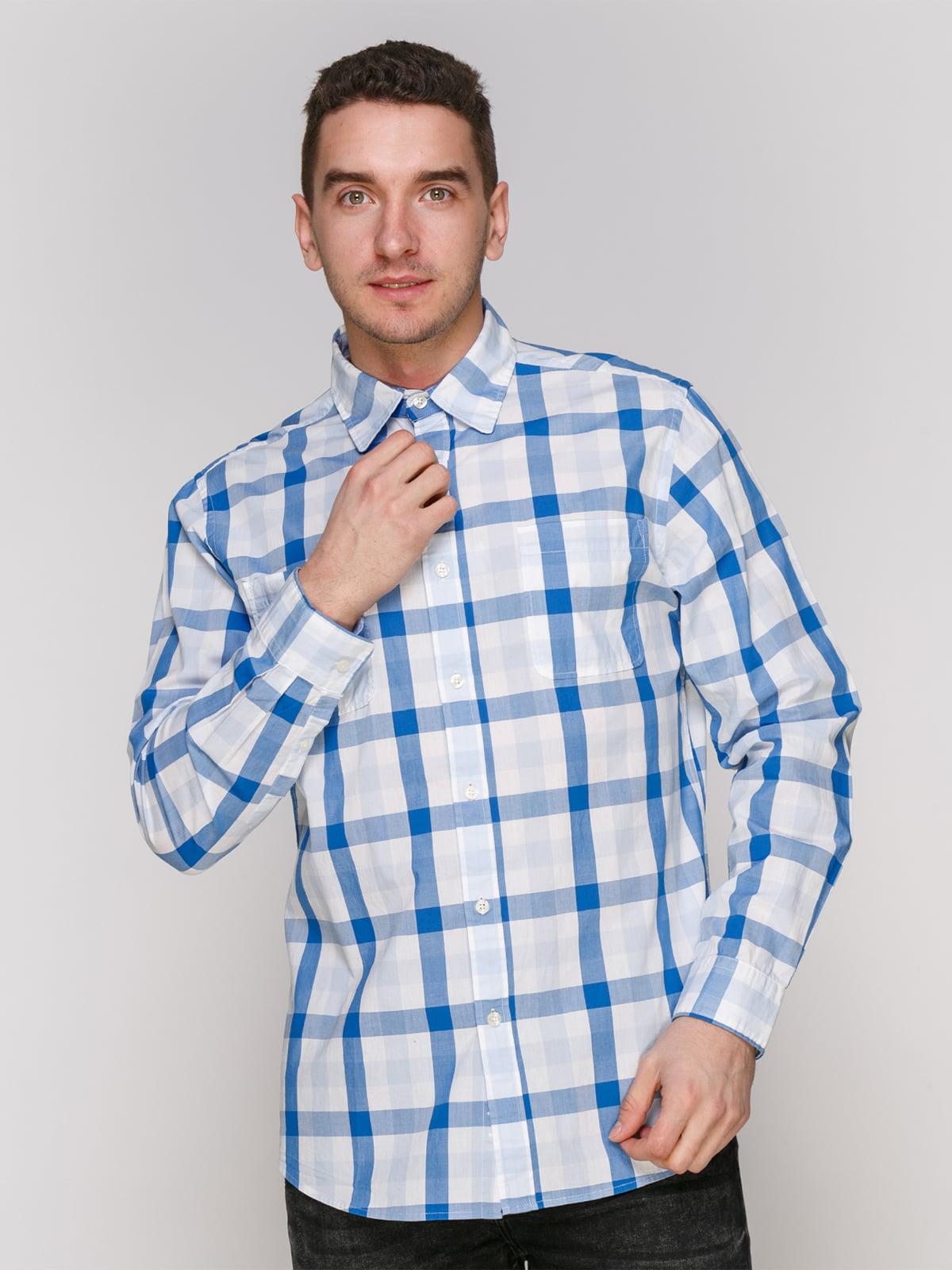 Рубашка синяя в клетку | 4854843