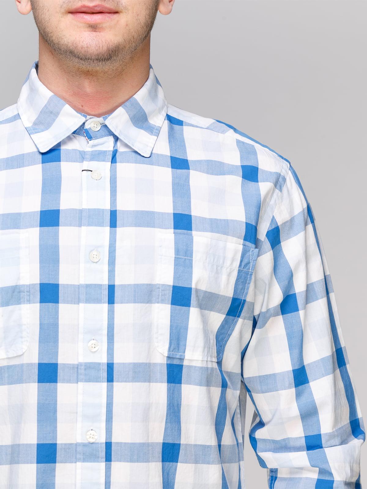 Рубашка синяя в клетку | 4854843 | фото 3