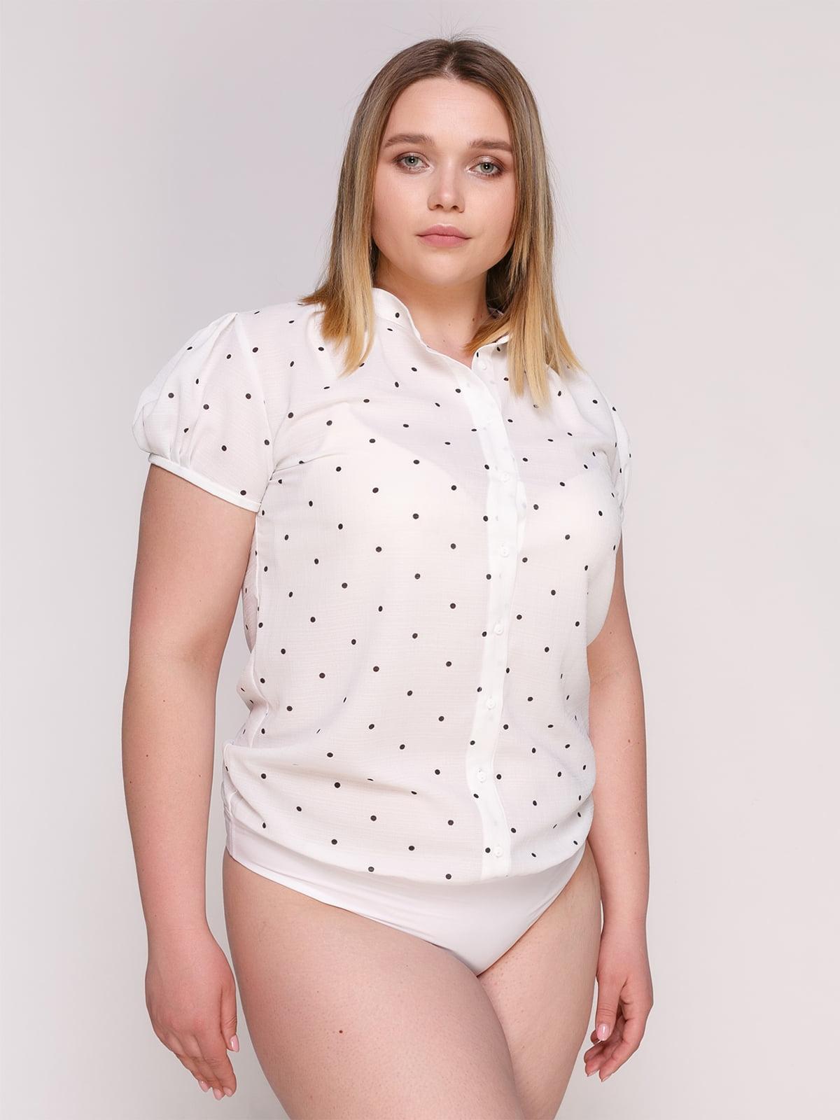 Блуза-боди белая в горох   4950637