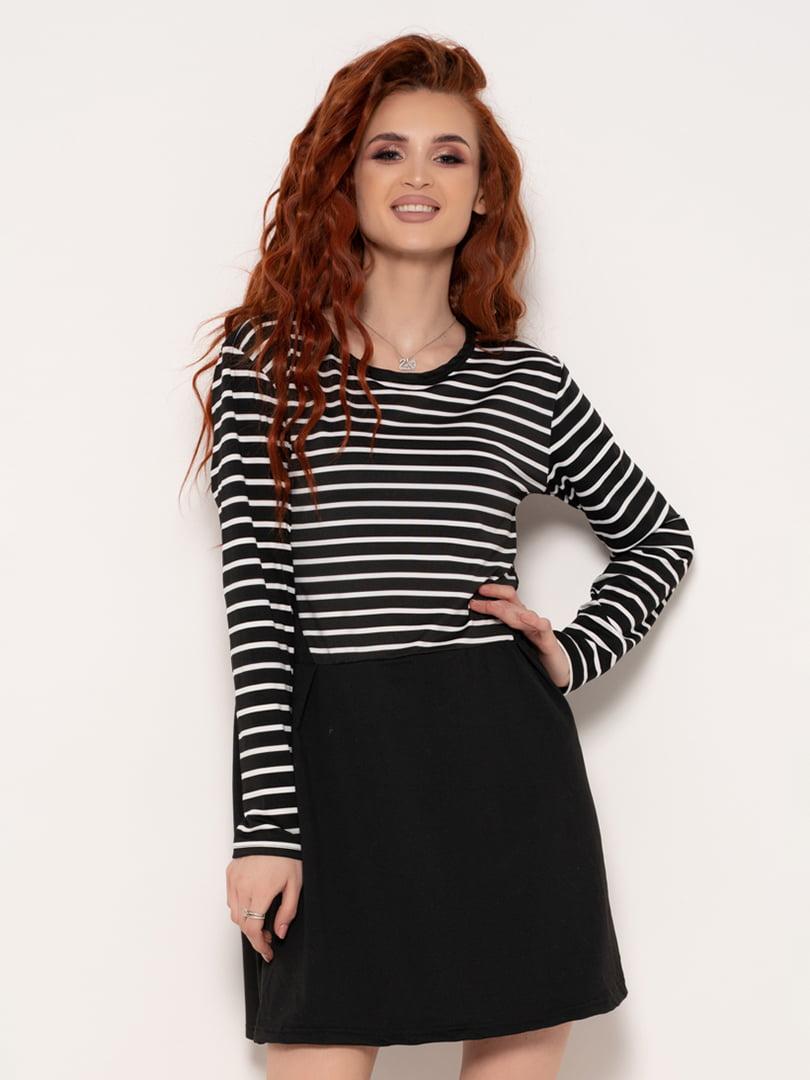 Сукня чорна зі смужками | 4971198