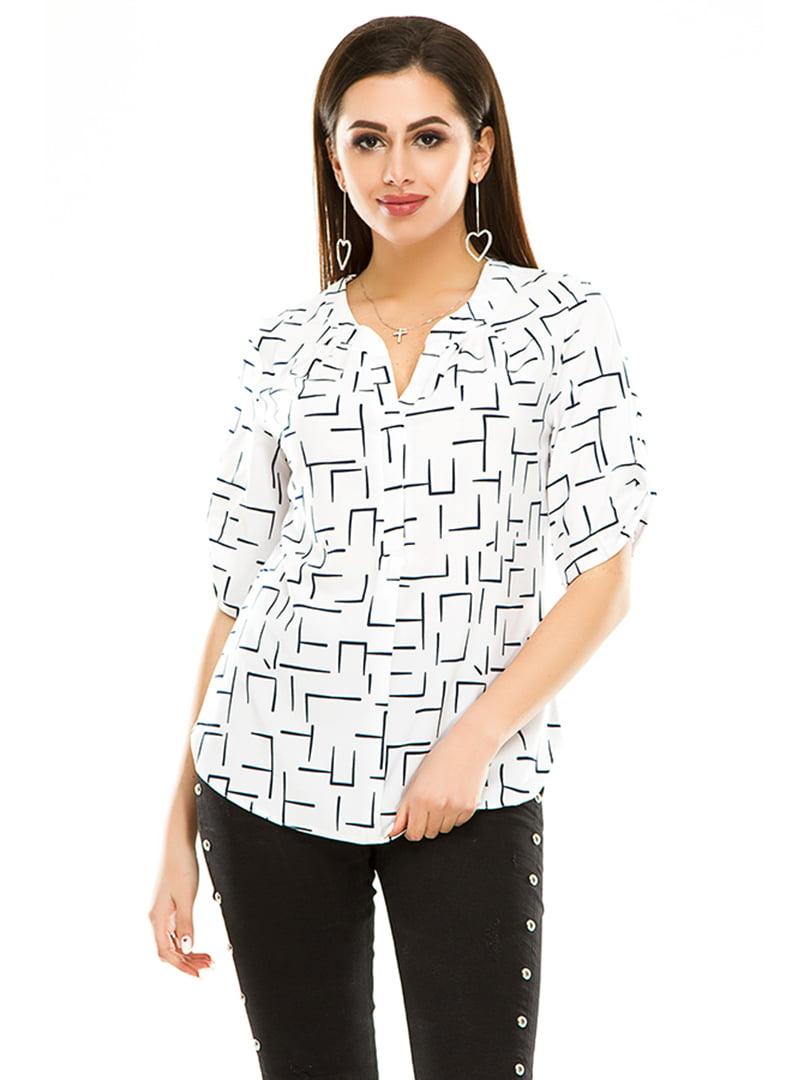 Блуза біла в принт   4973534