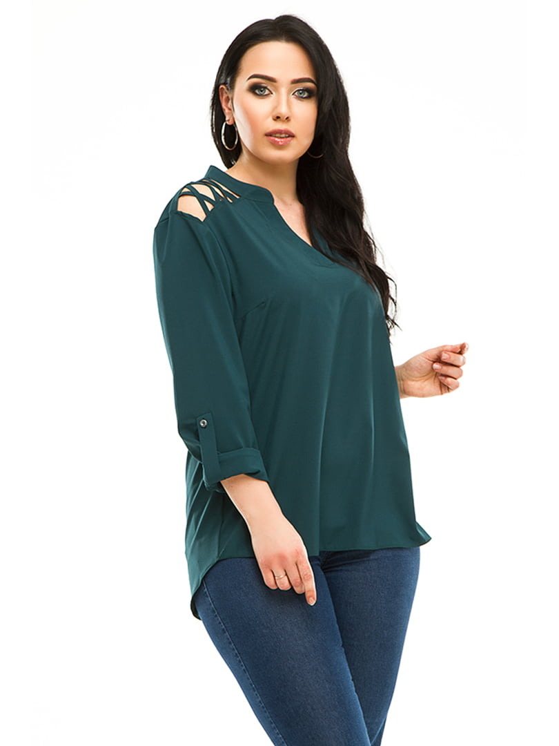 Блуза бутылочного цвета | 4973536