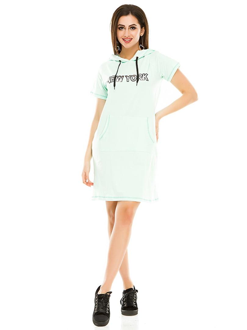 Сукня м'ятного кольору з принтом | 4973548