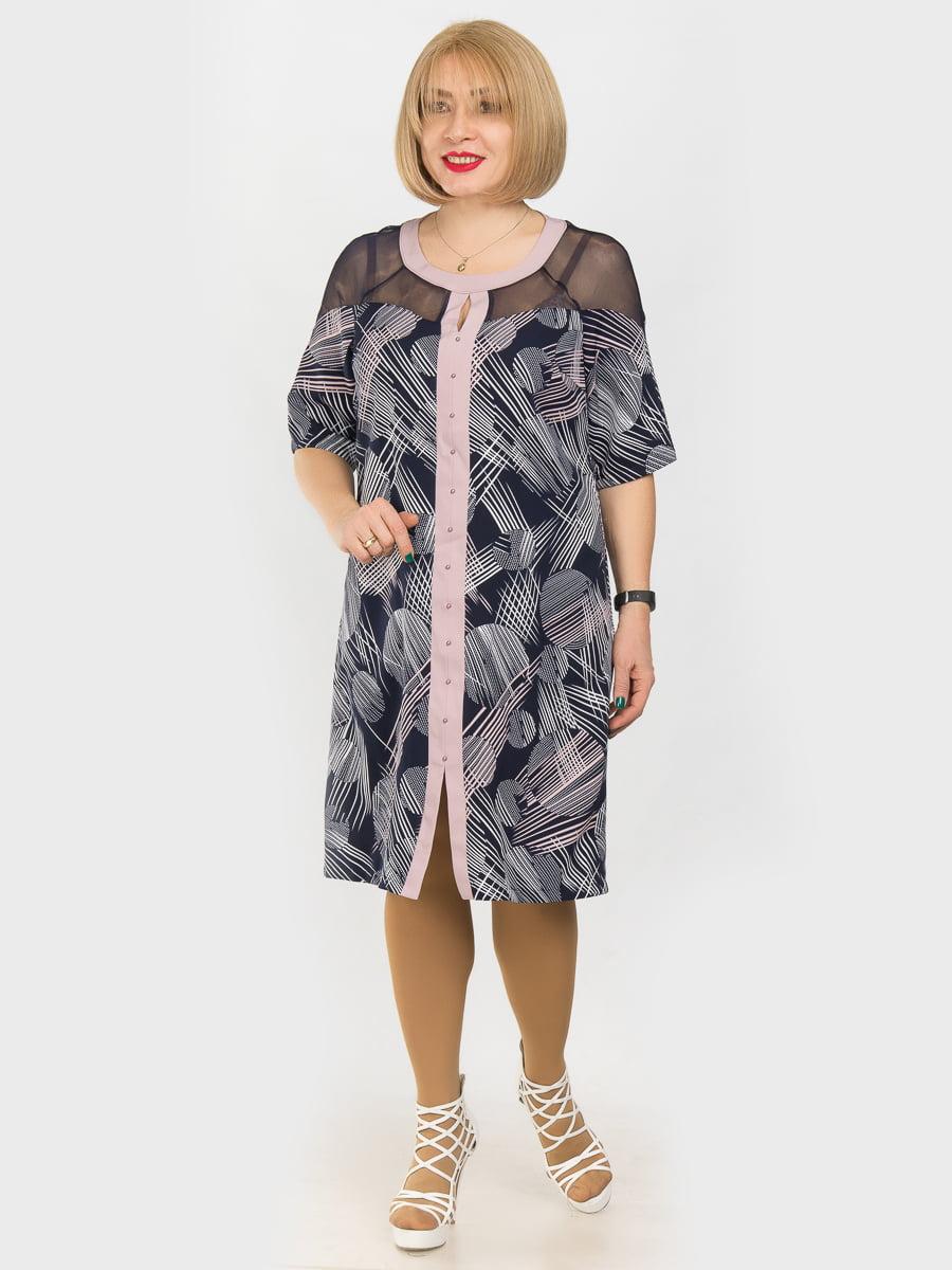 Платье сине-розовое в принт | 4975278