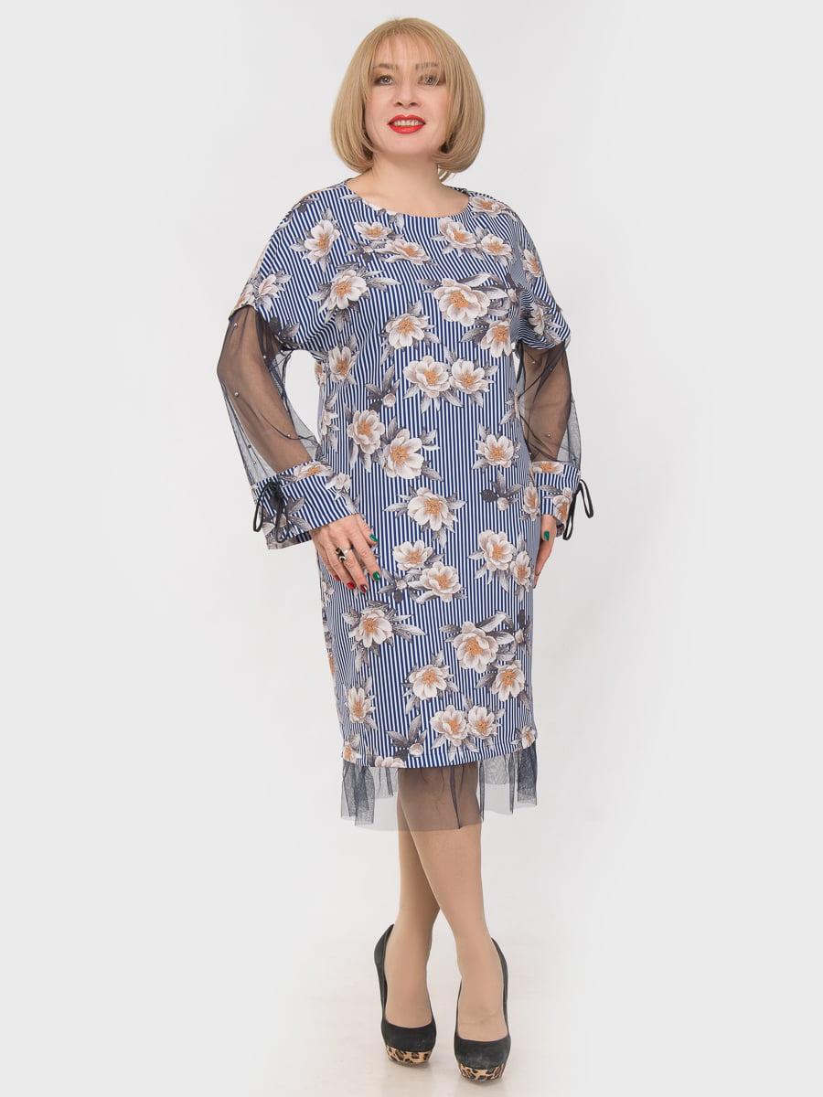 Платье голубое в принт   4975305
