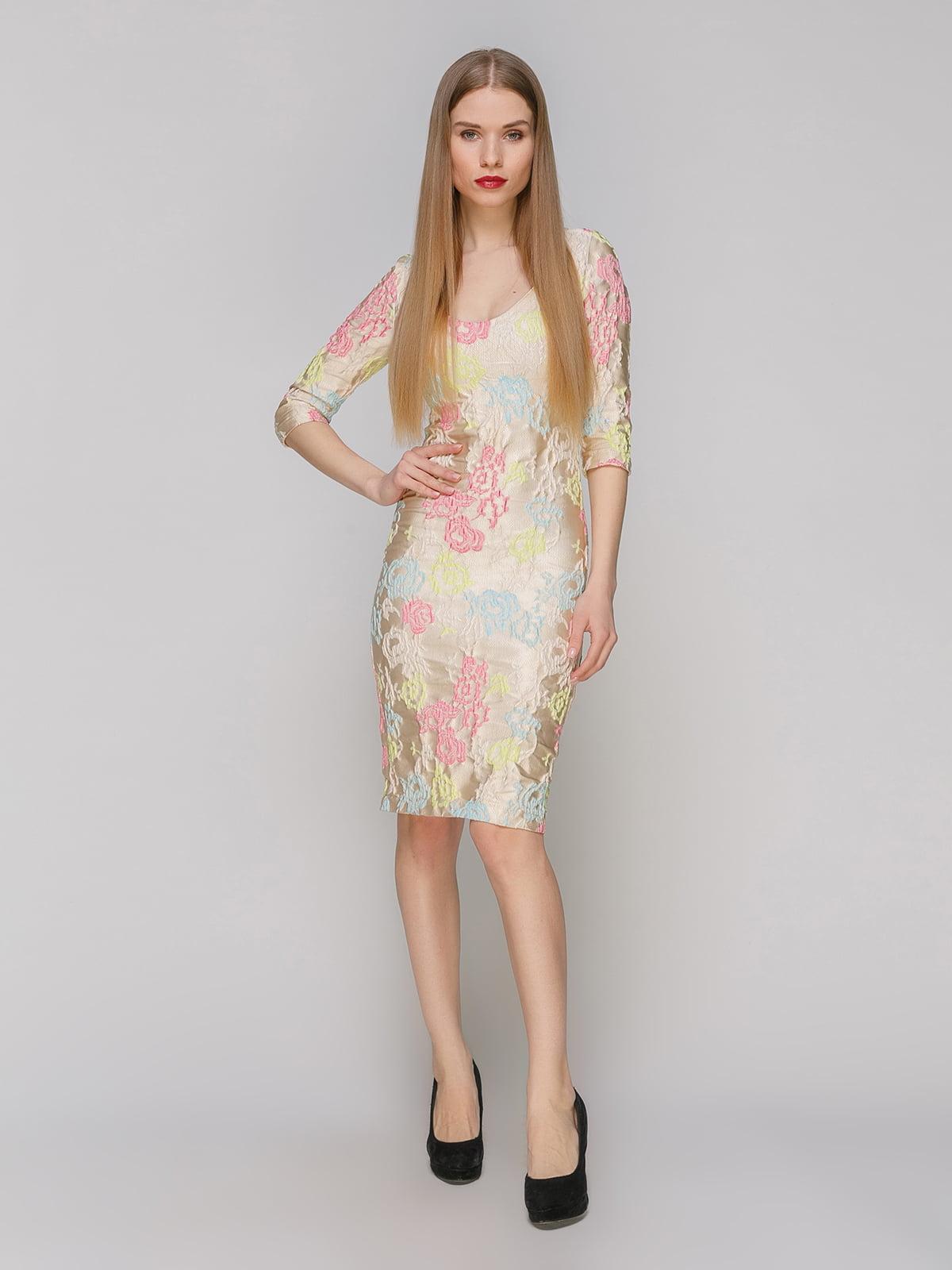 Сукня бежева в квітковий принт   4910991