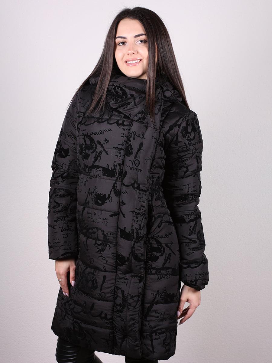 Пальто черное с принтом   4977705