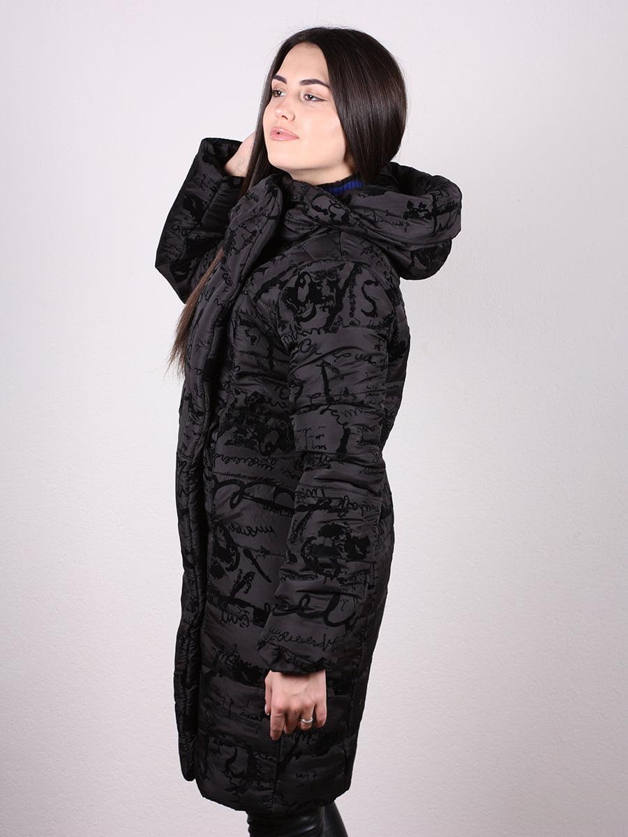 Пальто черное с принтом   4977705   фото 2