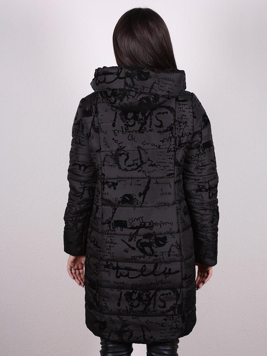 Пальто черное с принтом   4977705   фото 3