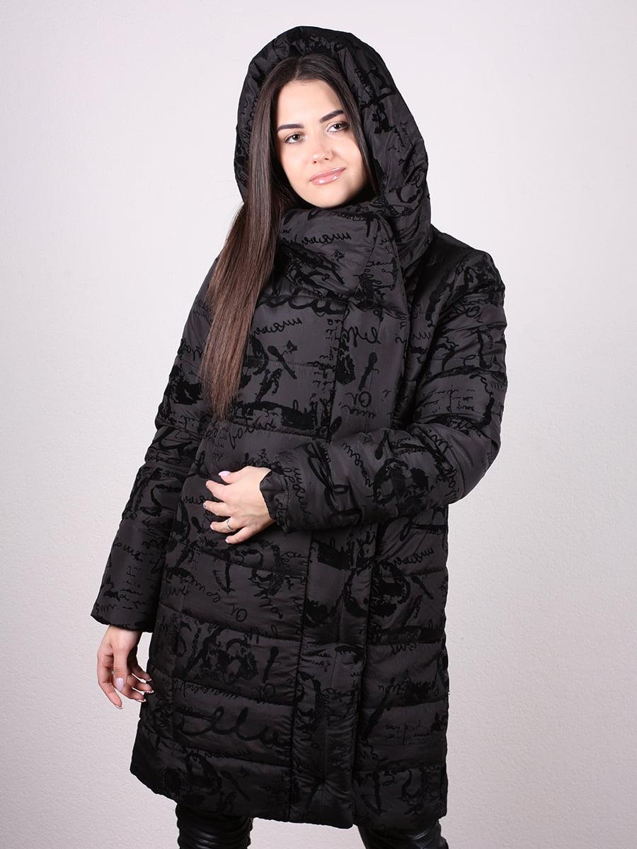 Пальто черное с принтом   4977705   фото 4