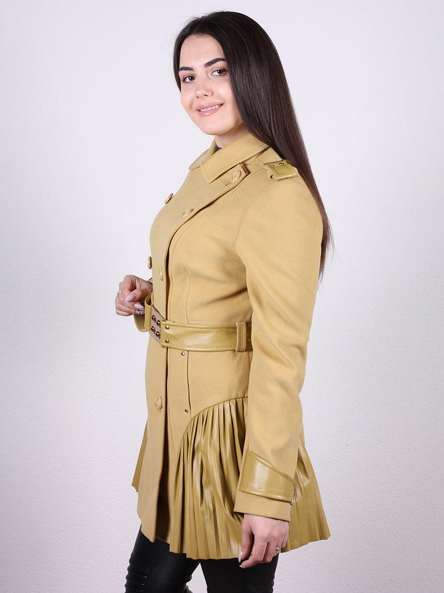 Пальто горчичного цвета | 4977760 | фото 2