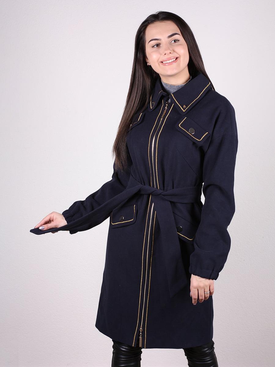 Пальто темно-синее | 4922386 | фото 4