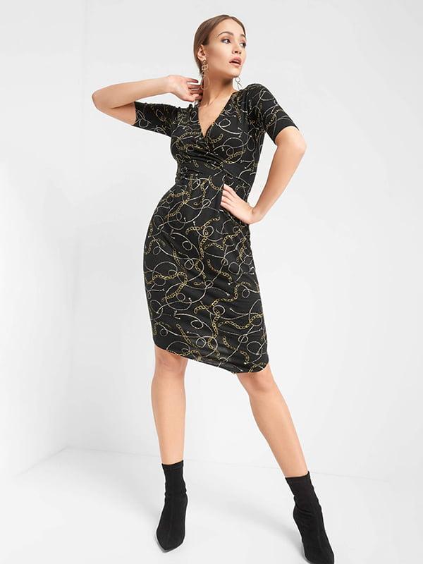 Платье черное в принт | 4977930