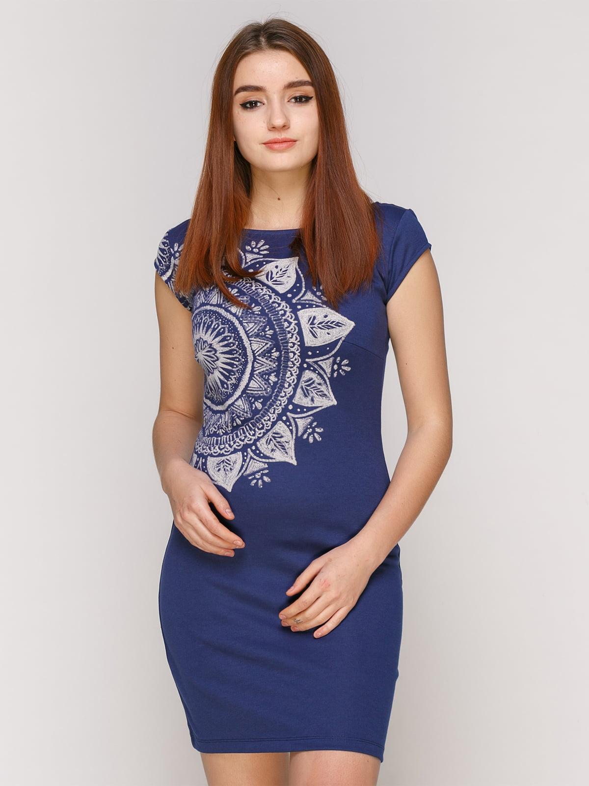 Сукня синя з принтом   4965720