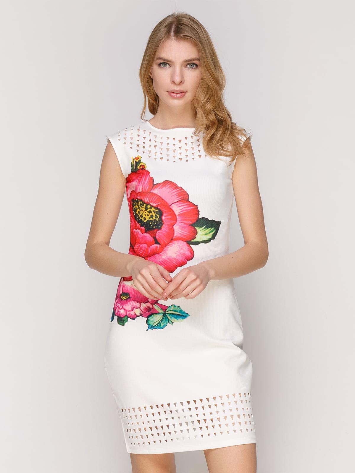 Сукня біла з квітковим принтом   4965721