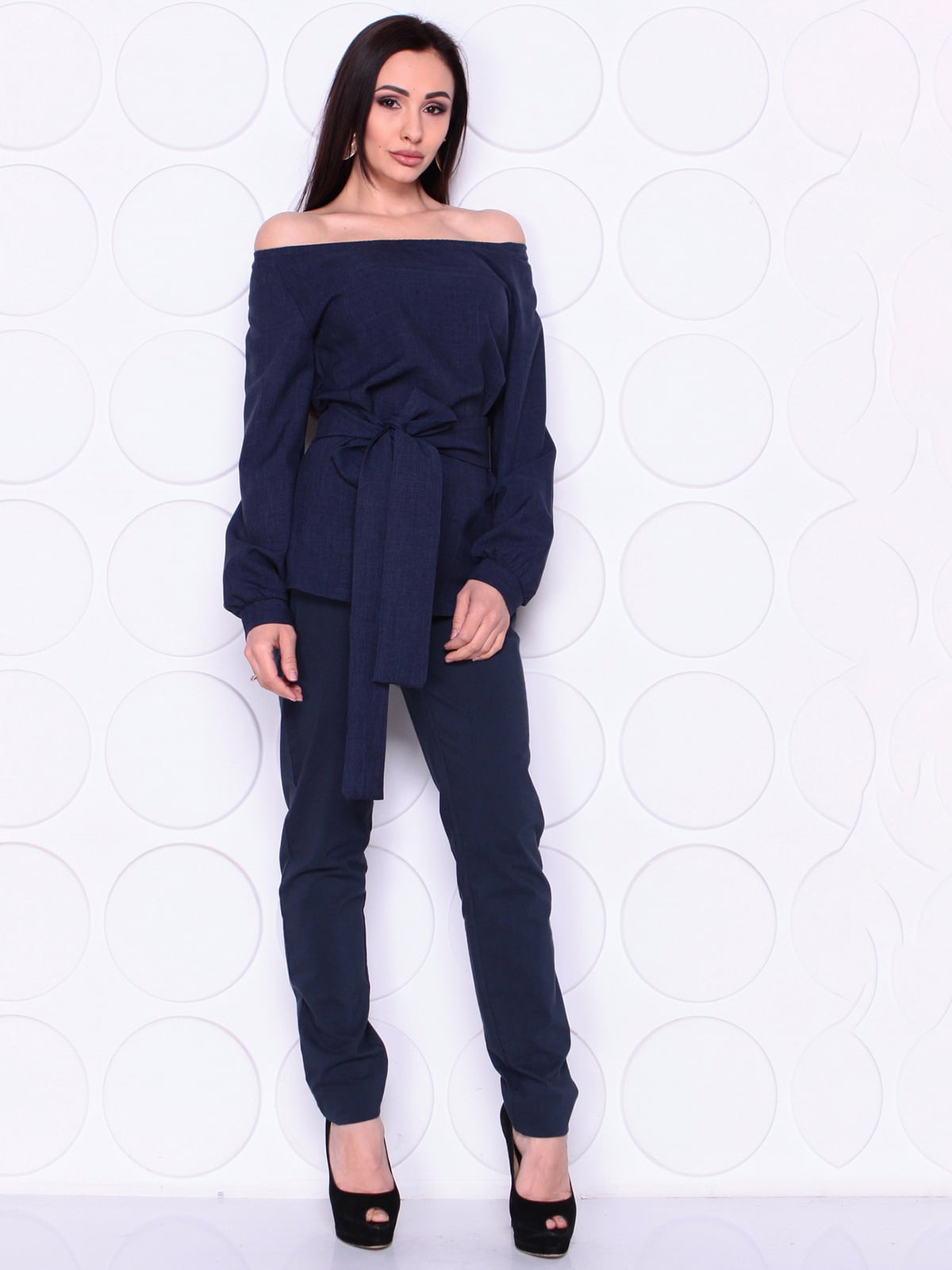 Блуза темно- синя з поясом   4978793