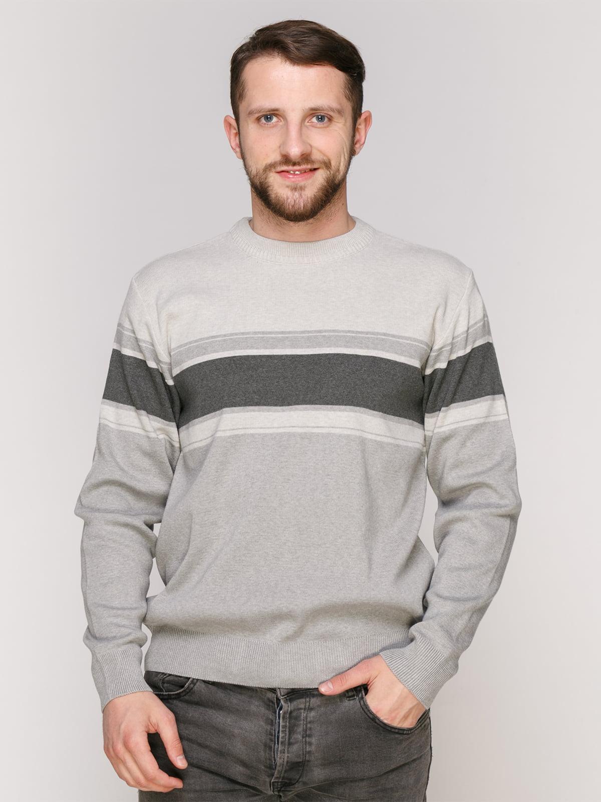 Джемпер серый с полосками | 4906941