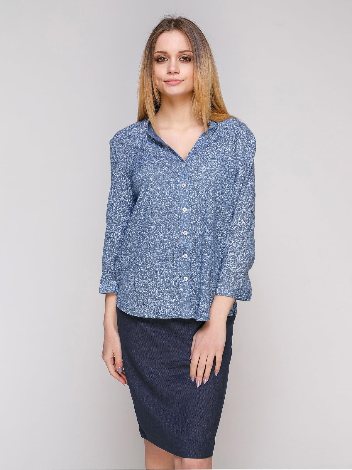Рубашка голубая в цветочный принт | 4959232