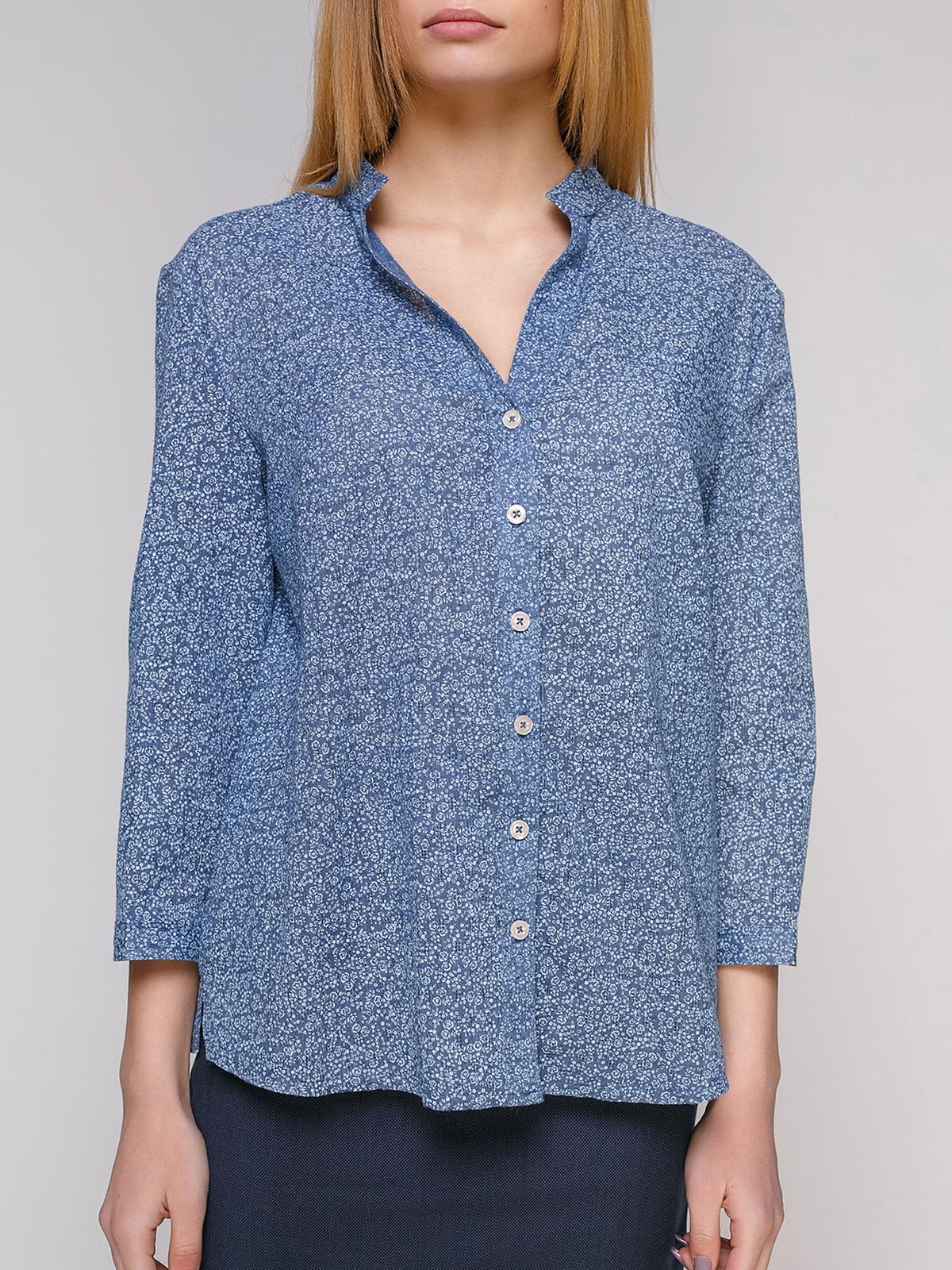 Рубашка голубая в цветочный принт | 4959232 | фото 3