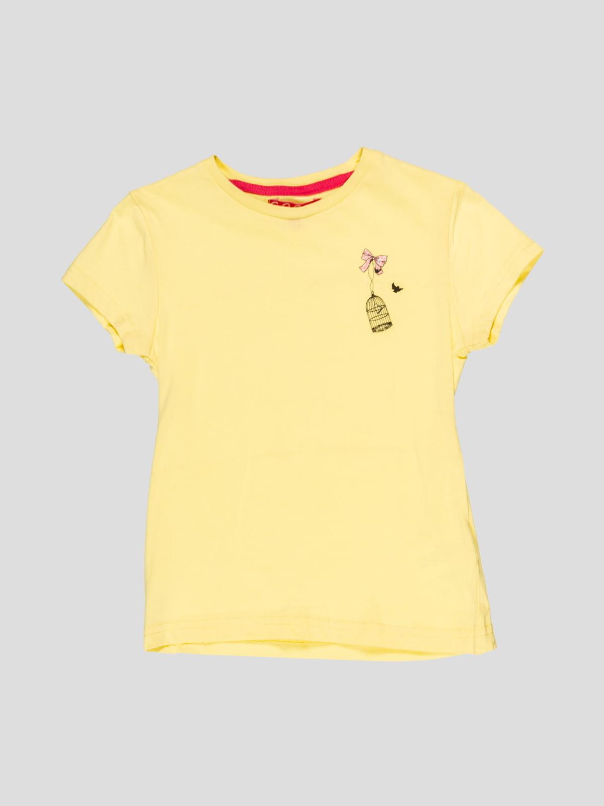 Футболка жовта з принтом | 4854812