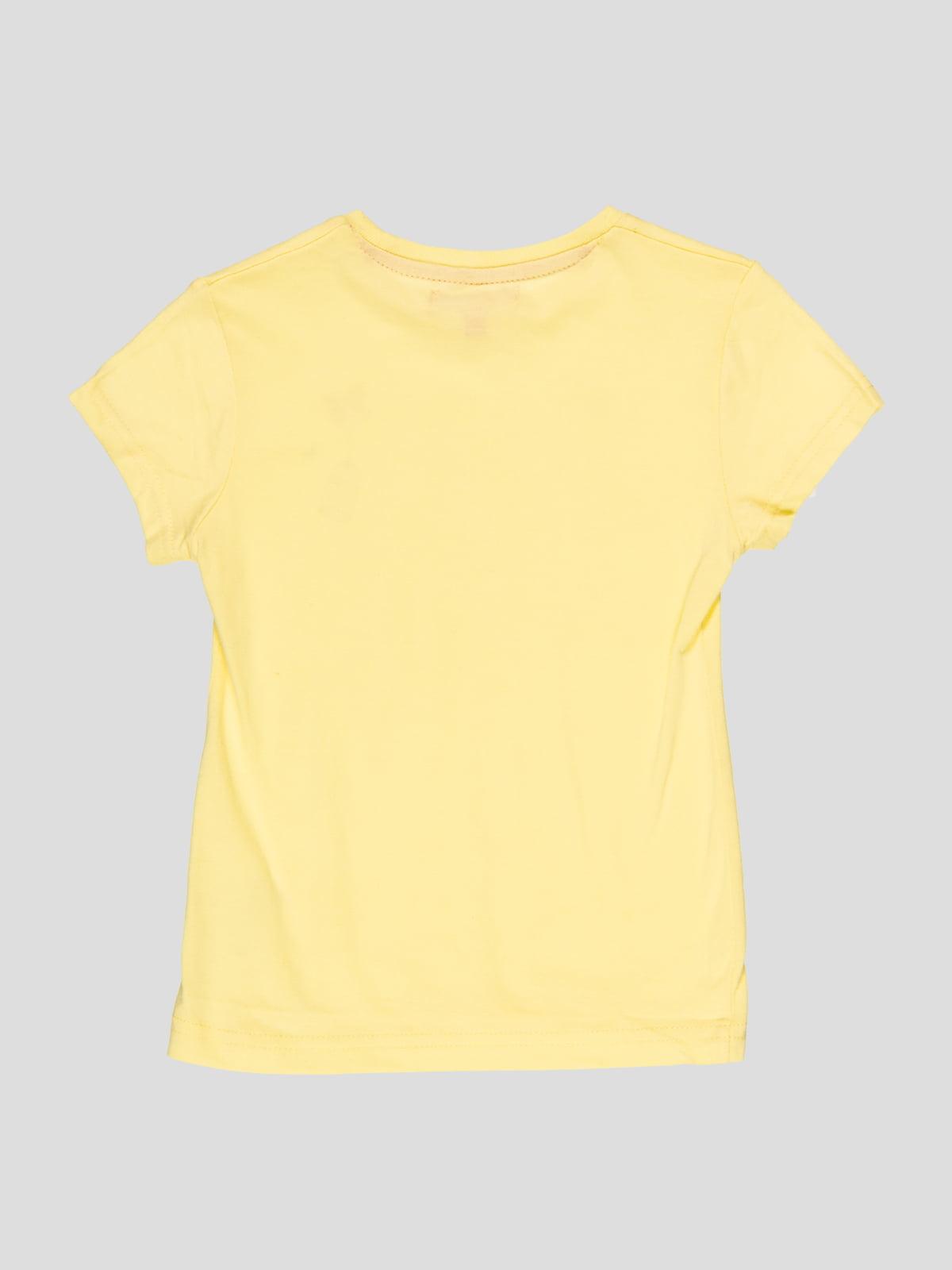 Футболка жовта з принтом | 4854812 | фото 2